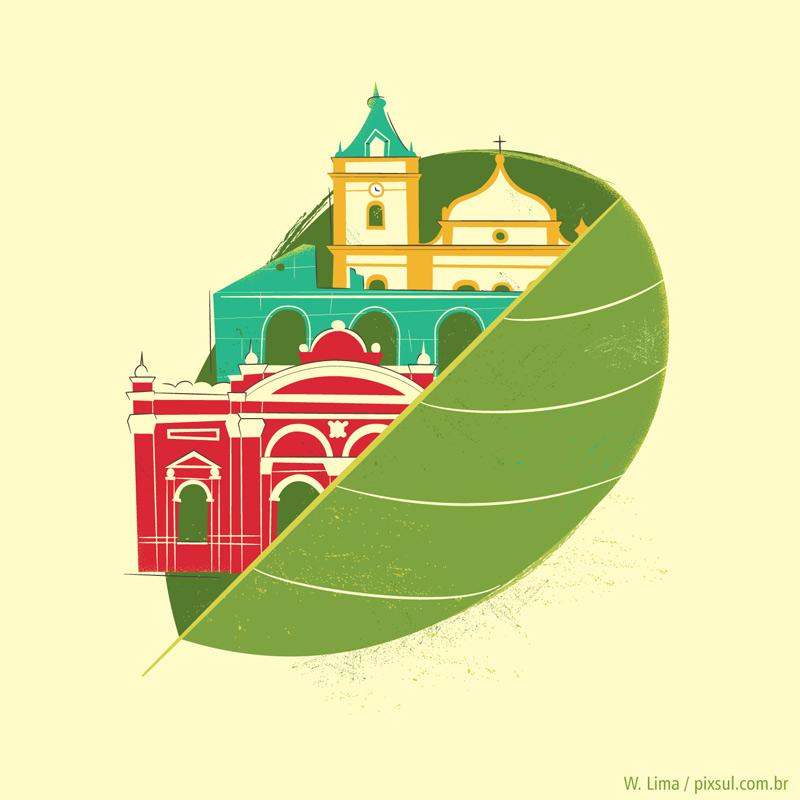Ilustração de Antonina - Paraná - chimarrão erva-mate