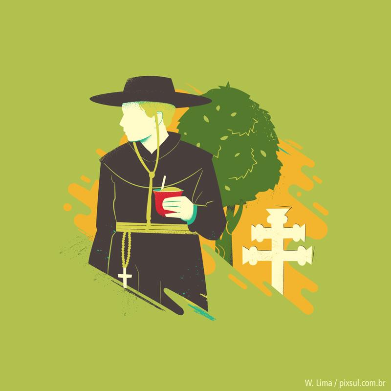 Ilustração de jesuítas - chimarrão erva-mate