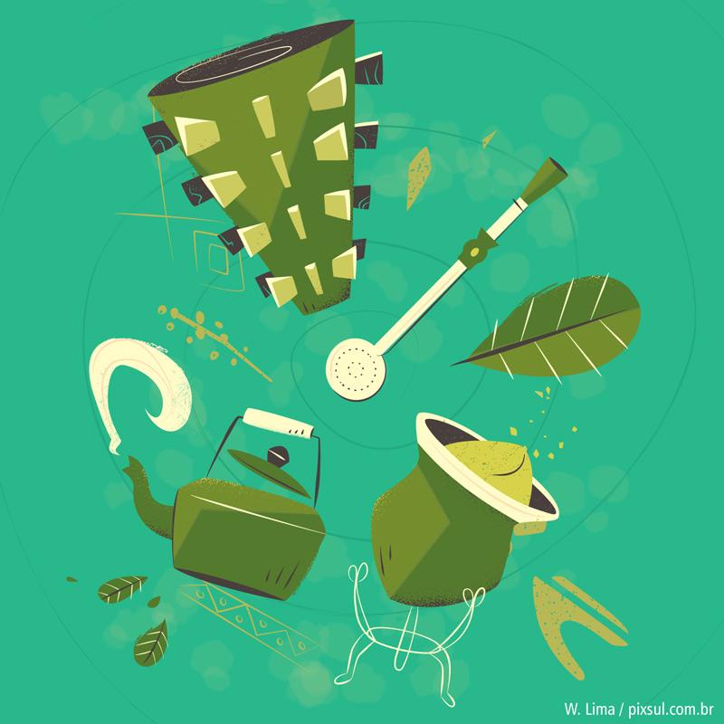 Ilustração de chimarrão erva-mate